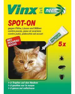 Vinx Bio Spot-On Tropfen mit Neem Katze - 5x1ml