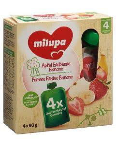 Milupa Apfel Erdbeere Banane - 4 x 90g