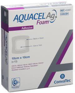 Aquacel Ag Foam adhäsiv - 10 Stk. à 10cm x 10cm