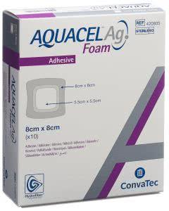 Aquacel Ag Foam adhäsiv - 10 Stk. à 8cm x 8cm