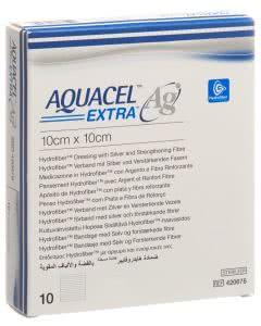 AQUACEL Ag Extra Hydrofiber Verband 10x10cm - 10 Stk