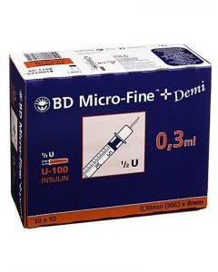 BD Microfine+ U100 Insulin Spritzen 8 mm Demi - 100 x 0.3 ml