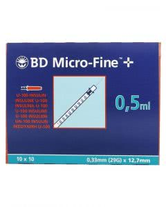 BD Microfine+ U100 Insulin Spritzen 12.7 x 0.33 mm - 100 x 0.5 ml
