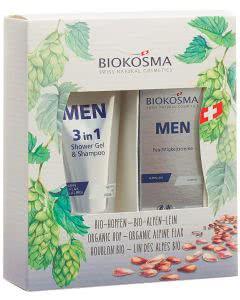 Biokosma Geschenkset Men Care 3 in 1 Shower Gel + Feuchtigkeitscreme - 200ml + 50ml