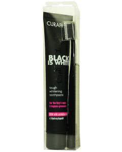 Curaprox Black is White - Zahn-Weiss Zahnpasta Limetten-Geschmack - mit passender Zahnbürste - 90ml
