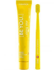 Curaprox be you Zahnpaste und Zahnbürste gelb - 90ml