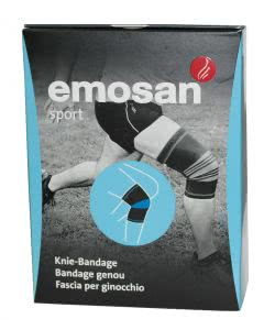 Emosan sport Kniebandage schwarz/blau S - 1 Stk