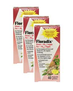 Floradix Eisen und B 12 Vegan - Trio-Pack - 3x40 Kapseln