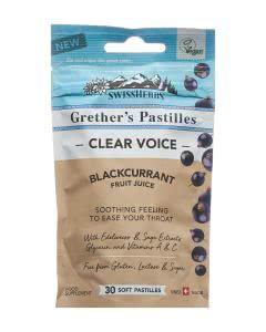 SwissHerbs Grethers Pastillen - Clear Voice - Blackcurrant - 45g