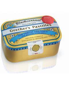 Grethers Pastillen zuckerfrei Cassis Schwarze Johannisbeeren - Dose mit 440g