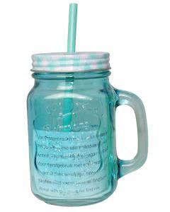 Herboristeria Drinkglas mit Strohhalm blau