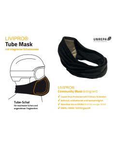 Livipro Tube Mask - Schal mit integriertem Filter waschbar SCHWARZ