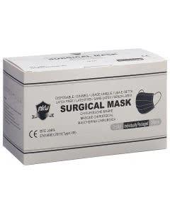 Mkw OP-Maske Typ IIR schwarz - einzeln verpackt