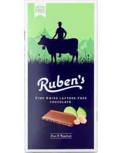 Ruben's Schokolade Laktosefrei Limette & Haselnuss - 90g