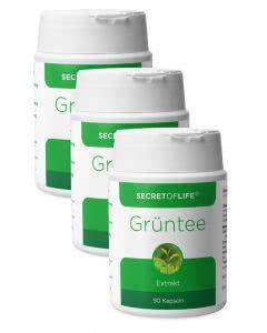 Set:Secret of Life - Grüntee-Kapseln - 3 x 90 Stk. - 20% Rabatt & portofrei