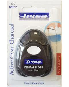 Trisa Dental Floss - Active Clean Charcoal - Mint - Zahnseide - 40m
