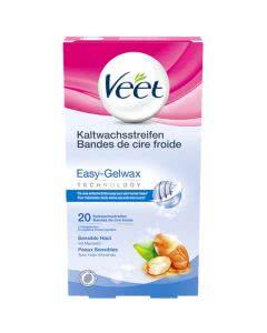 Veet Easy-Gelwax Kaltwachsstreifen Körper sensitiv - 20 Stk.