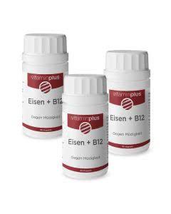 Spar-Set 20%: Vitaminplus Eisen + B12 gegen Müdigkeit - 3x90 Kaps.